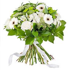 Le bouquet blanc, classique, élégant, chic et toujours apprécié... (bouquet présenté : diamètre 35 cm)