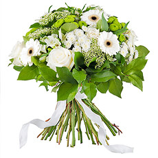 The perfect gift for every occasion : a beautiful classical and stylish white bouquet... (displayed bouquet : 35 cm diameter)