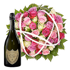 A superb bouquet with 50 perfumed rosebuds in pink shades and an exquisite bottle of Dom Pérignon Champagne.