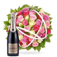 Together with this beautiful bouquet of 50 lovely smelling roses, we send out a delicious bottle of champagne.