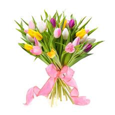 Découvrez ces tulipes colories varié, cueillies et bottelées à la main pour former ce bouquet de charme, simple et raffiné. Il egaiera la maison par ses couleurs vives et sa fraîcheur printanière.