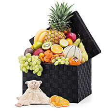 "Our delicious fresh fruit basket is paired with a soft plush toy for the little one. This soft, cuddly ""lovey"" is perfect for babies to snuggle."