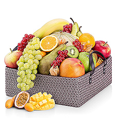A precious basket handpacked with a selection of delicious, fresh fruits. 
