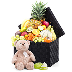 Our delicious fresh fruit basket is paired with a soft plush toy for the little one. This soft, cuddly bear is a lovable friend for small children.