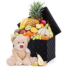 Bienvenue au nouveau-né ! Faites dune pierre deux coups avec ce panier de fruits Boogy Teddy Bear.
