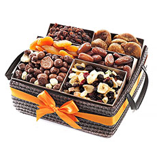 This fruit basket has a combination of dried cranberries, banana chips, figs, apricots, tropical mix and chocolate covered nuts..