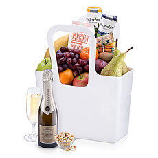 This fruit and nut gift bag with Lenoble Champagne is an ideal office gift, birthday present, new baby gift, or present for your health-conscious friends and family.