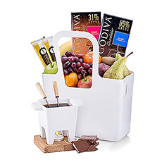 The sensual pleasures of rich Belgian chocolate, fluffy gourmet marshmallows, and juicy fresh fruit are presented in a stylish tote for the most romantic date night gift. Perfect for Valentine's Day gifts, weddings, anniversaries, and special birthdays.