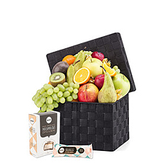 Send this fresh fruit and Barú chocolate gift basket for birthdays, holidays, new baby, wedding, or just to make someone's day more delicious!