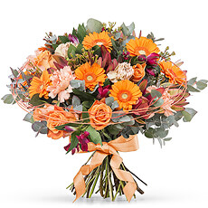 Send sweet wishes with our new Endless Charm Bouquet created with roses, Gerbera, waxflower, eucalyptus, pink alstroemeria, leucadendron, and carnations.