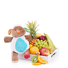 Welcome a new baby with this delightful Minimi plush toy and fresh fruit gift tray!