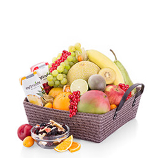 Fruit lovers will be delighted to receive this beautiful gift basket! A scrumptious assortment of fresh fruit, dried fruit, and fruit smoothies are presented in a handsome woven gift basket.