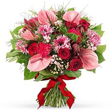 Bouquet Saint Valentin avec Roses Rouges et Anthurium