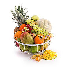 Exotic Fruit In White Metal Basket
