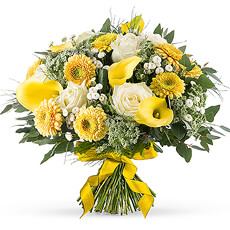 Bouquet Printanier aux Fleurs Blanches et Jaunes
