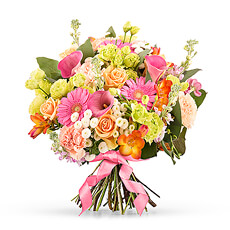 Summertime is here! This fantastic, colorful bouquet exhales summer. When you see this bouquet, your mood barometer immediately rises. It's the perfect gift for anyone who loves summer and a little extra color.