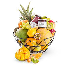 This stylish metal gift basket offers a scrumptious assortment of exotic and classic fruit, along with a pair of Royal Belberry sauces for a little extra treat.