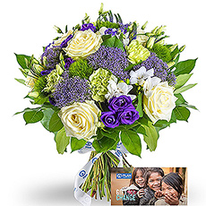 Plan International Bouquet Bleu & Pourpre & Plan Gift Card