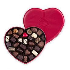 Corné Port-Royal Boîte Coeur en Cuir Rouge Garnie, 440 g, 30 chocolats