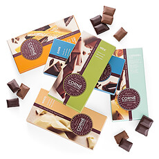 This scrumptious sampler offers five different flavors of Corné Port-Royal Belgian chocolate tablets in milk, dark, and white chocolate.