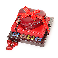 This romantic chocolate tower offers a range of creamy dark, white, and milk chocolates in all shapes and sizes.
