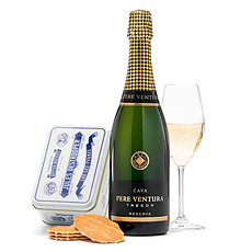 Send cookies as a gift to Spain in honor ofany corporate occasion. This Cava sparkling wine and Destrooper cookies present is a unique gift for Europe.