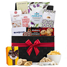 Send this luxury business gift to colleagues in Europe for any important corporate gifting occasion, such as retirement, to express appreciation, or to offer heartfelt congratulations. Filled with sweet and savory foods from Europe, this gourmet gift basket is also a popular gift idea for families and friends.