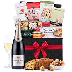Elegant, timeless, and festive, this Ultimate Gourmet Gift Hamper with Champagne Lenoble Brut Grand Cru Blanc De Blancs is not soon to be forgotten.