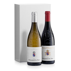 A classic wine gift duo featuring a bottle each of red and white Châteauneuf-du-Pape wine from the Southern Rhône Valley of France. Refined, and elegant, it makes an excellent wine business gift for Europe.