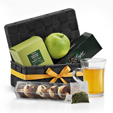 Give the gift of relaxation with this afternoon tea gift set. Damman luxury tea, Belgian chocolates, and a crisp fresh apple are a welcome treat for any occasion.