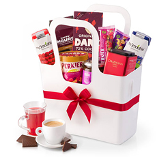 Welcome the new day with our delicious gourmet breakfast gift basket. A reusable Koziol tote is bursting with gourmet coffee, tea, Belgian chocolate, breakfast bars, and more to start the day off right.