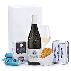 A refreshing bottle of French white wine is paired with delicious European gourmet sweets in this luxury holiday gift box. An ideal gift to help friends, family, and colleagues unwind during the busy holiday season.