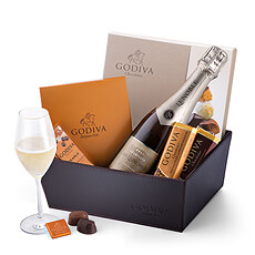 Celebrate life's special moments with this luxurious gift hamper featuring Godiva chocolates and Lenoble French Champagne.