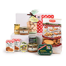 An elegant gourmet picnic hamper is packed with an abundance of the finest French foods. Classic savory spreads, crisp breads, butter puffs, caramel cookies, and more await discovery in this beautiful gourmet gift basket inspired by the best flavors of France.