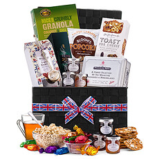 A wonderful assortment of traditional British flavors and fine gourmet foods await discovery in this deluxe gift hamper. Discover the best tea, preserves, sweets, and savory snacks from England.