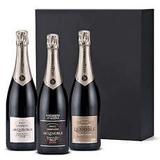 This trio of Champagne Lenoble bottles is the perfect VIP gift to celebrate a wedding, new baby, anniversary, special birthday, retirement, or business success. It also makes an impressive corporate holiday gift for your most important clients, colleagues, and accounts.