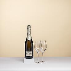 Une magnifique bouteille de Champagne Lenoble Blanc de Blancs présentée dans un luxueux coffret noir avec deux verres à l'effigie de la marque.