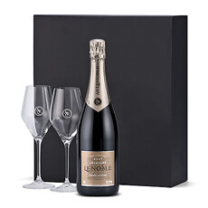A wonderful bottle of Champagne Lenoble Brut Intense is presented in a luxury black gift box with a pair of signature glasses.