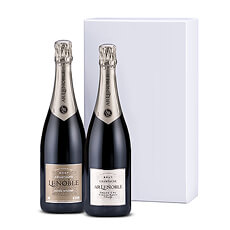 This duo of Champagne Lenoble bottles is the perfect VIP gift to celebrate a wedding, new baby, anniversary, special birthday, retirement, or business success. It also makes an impressive corporate holiday gift for your most important clients, colleagues, and accounts.