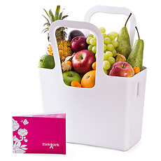 "Discover a scrumptious assortment of fresh fruit, cleverly presented in a versatile Koziol ""Taschelino"" tote bag in this special gift to benefit the National Breast Cancer Campaign in Belgium."
