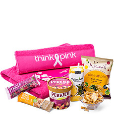 This sporty gift with signature Think-Pink towels paired with healthy, high energy snacks is the perfect gift to make his or her workout fantastic!