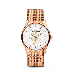 Created by Belgian watchmaker Rodania, this chic rose gold hued watch supports Think-Pink, the National Breast Cancer Campaign in Belgium.