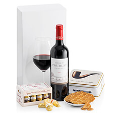 The perfect trio of French red wine, gourmet biscuits, and delicious wine-filled chocolates are combined in this exquisite gift. This is a wonderful gift for birthdays, corporate gifts, Father's Day, and other special occasions.