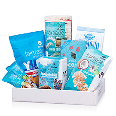 Discover the perfect balance of sweet and salty Fair Trade Oxfam snacks, beautifully arranged in a white gift tray.