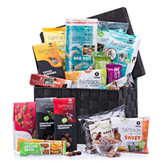 Our new Oxfam office gift hamper overflows with a tempting collection of Fair Trade sweets. The gift features a bounty of ethically sourced sweets, including chocolates, organic cookies, snack bars, nuts, and so much more.