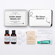 Look and feel good wherever you are! The Stow Away Travel Wash Kit is the perfect accessory for any gent.