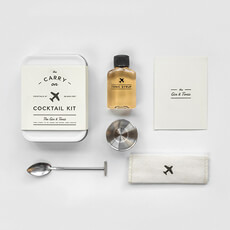 This kit includes the tools to mix two Gin & Tonics mid-flight, including everything you need, all you need to do is add the hard stuff.