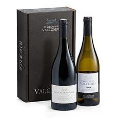 Why choose between red and white wine when you can send both? This popular wine duo features two bottles of Château de Valcombe Rhône Valley wines presented in an elegant gift box.