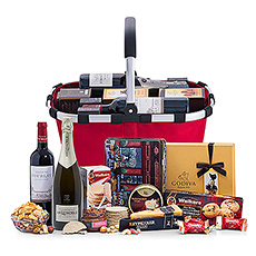 Our Royal Carry Bag collection gifts are the best gourmet gift baskets for any important corporate occasion or family celebration. The Red Wine & Lenoble Champagne edition includes our favorite house Champagne and a beautiful Château de Courlat French Merlot with an impressive collection of premier European foods.
