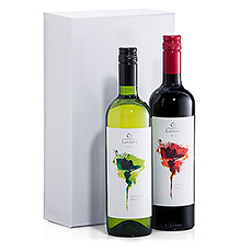 Presenting a beautiful duo of organic Fair Trade wines. A refreshing Sauvignon Blanc white wine and a ruby-red Cabernet Sauvignon are offered in a stylish white gift box.